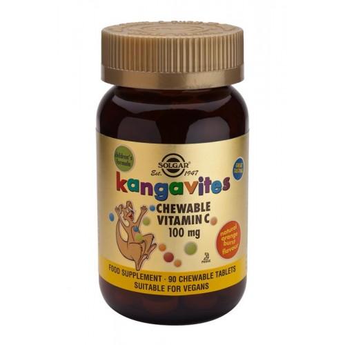Kangavites Chewable Vitamin C 100 mg Tablets Natural Orange Burst Flavour